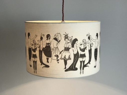 Handmade drum lampshade with Louise Body Naughty Ladies 100% cotton fabric