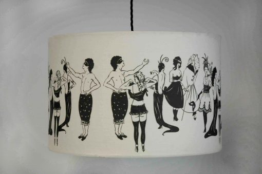 handmade drum lampshade with Naughty Ladies 100% cotton fabric designed by Louise Body