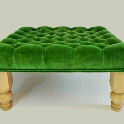A green velvet handmade footstool - made to order in clients size and fabric choice