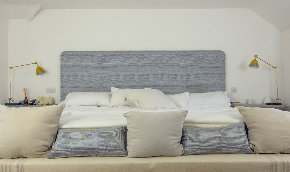 A maxi double headboard, handmade to measure for a 10 foot wide bed