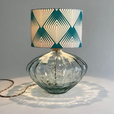 Recycled glass table lamp with Art Deco hand made drum lampshade