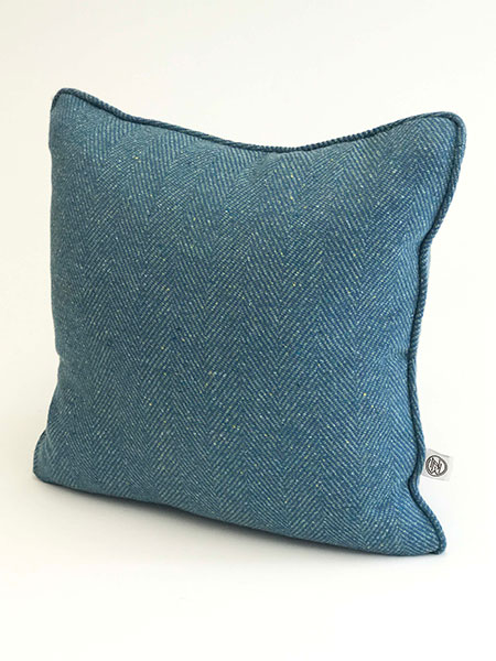 Pure wool tweed handmade cushions available in many colours showing Azure