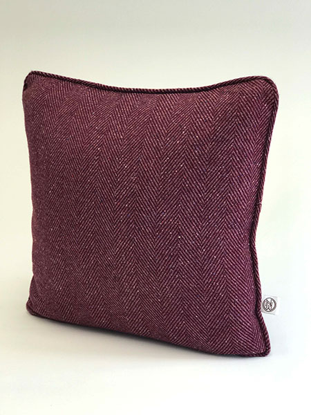 Pure wool tweed handmade cushions available in many colours showing Damson