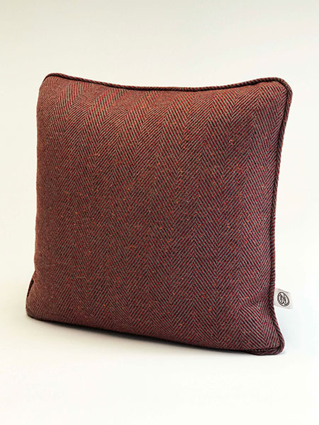 Pure wool tweed handmade cushions available in many colours showing Rust