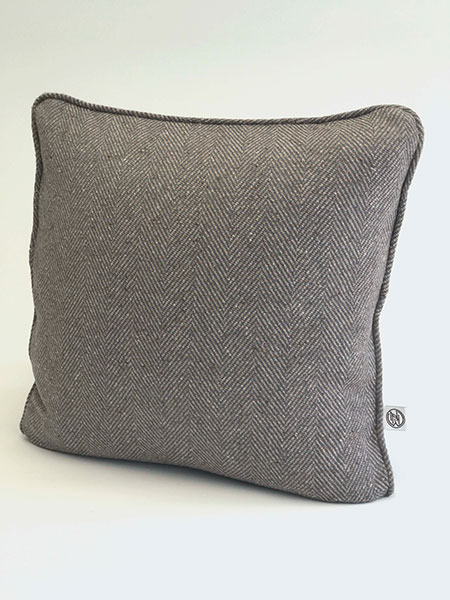 Pure wool tweed handmade cushions available in many colours showing Stone