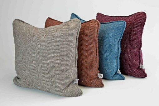 Pure wool tweed handmade cushions available in many colours including Stone, Azure, Damson and Rust